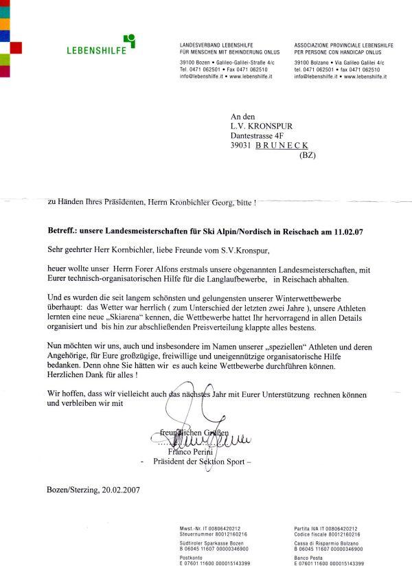 Amateur Langlaufverein KRONSPUR - Dokumente - Dankesbrief von Franco ...